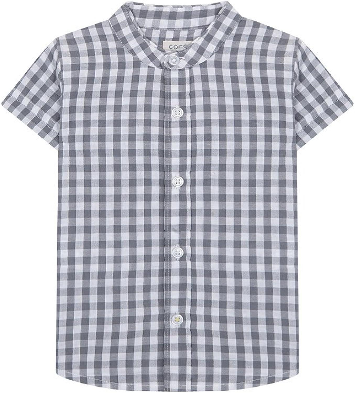 Gocco S86CMCCA201 Camisa Manga Corta Cuadro, Gris (Gris ...