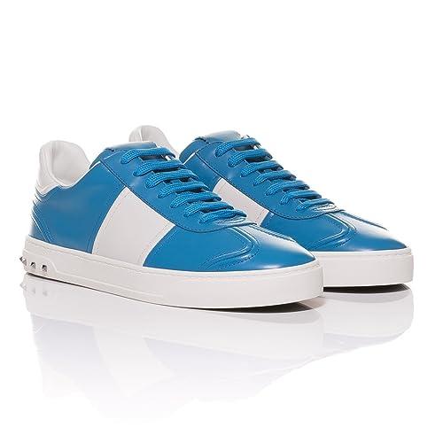 Valentino - Zapatillas de Cuero para Hombre Azul Azul, Color Azul, Talla 43 EU: Amazon.es: Zapatos y complementos
