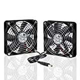 ELUTENG USB Computer Fan Quiet Dual 120mm Fan Powered by USB 5V Cooling Fan Portable PC Radiator Ventilator 2 in 1 for AV Cabinet PS4 Xbox Router Water Tank