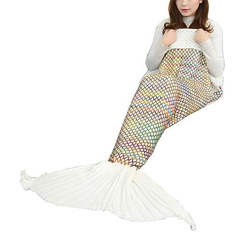 Sirena techo, navline hechas a mano ganchillo meerjungfrau aletas techo, Mermaid Blanket todas las