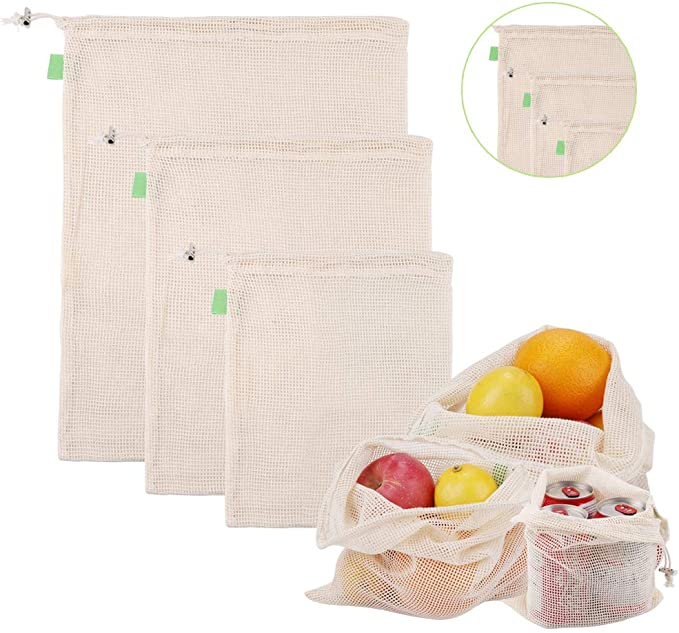 HALOViE 3pcs Bolsas Reutilizables de Algodón Compra Ecológicas Bolsas de Comida para Fruta Verduras Vegetales Juguetes Almacenamiento Malla Transpirable Lavable Libre de BPA 3 Tamaños (1*S, 1*M, 1*L): Amazon.es: Hogar