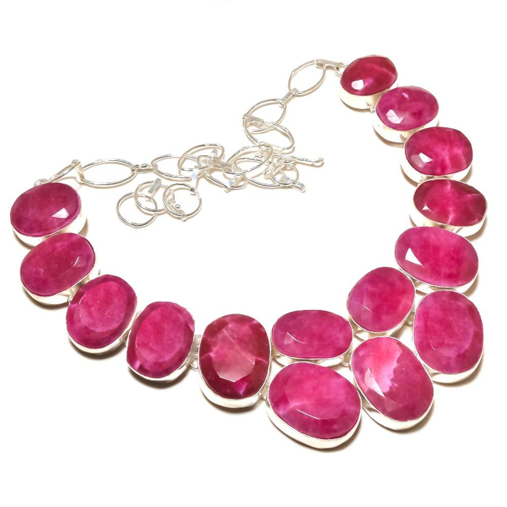 Red Dyed Ruby Sterling Silver Overlay 101 grams Necklace 17-18 Best Designer Gift