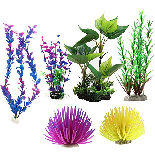 MEWTOGO 6pcs Large Aquarium Plastic Plants-Fish Tank Decor Set (Plants Set Aquarium Fish)