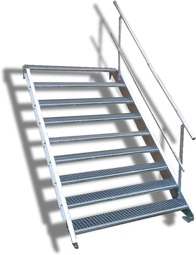 9 Escalera de acero Escaleras con einseitigem barandilla/Nivel Planta ancho 60 cm/Altura 135 – 180 cm/Incluye Extremos de escaleras de U de perfil + Rejilla de escaleras + Tornillos, Tuercas/mejilla Escaleras exterior