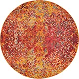 Unique Loom Estrella Collection Vibrant Abstract Red Round Rug (6′ x 6′) For Sale