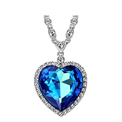 e0d61c9ceaa9 Buy Azora Big Heart Blue Swarovski Crystal Pendant Necklaces For Women  Online at Low Prices in India