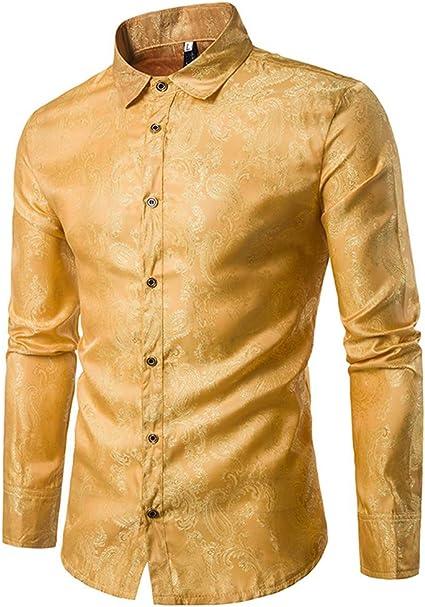Allthemen - Camisa de cachemira para hombre, de seda jacquard, camisas de vestir de manga larga, cuello con botones y camisas de esmoquin casuales: Amazon.es: Ropa y accesorios
