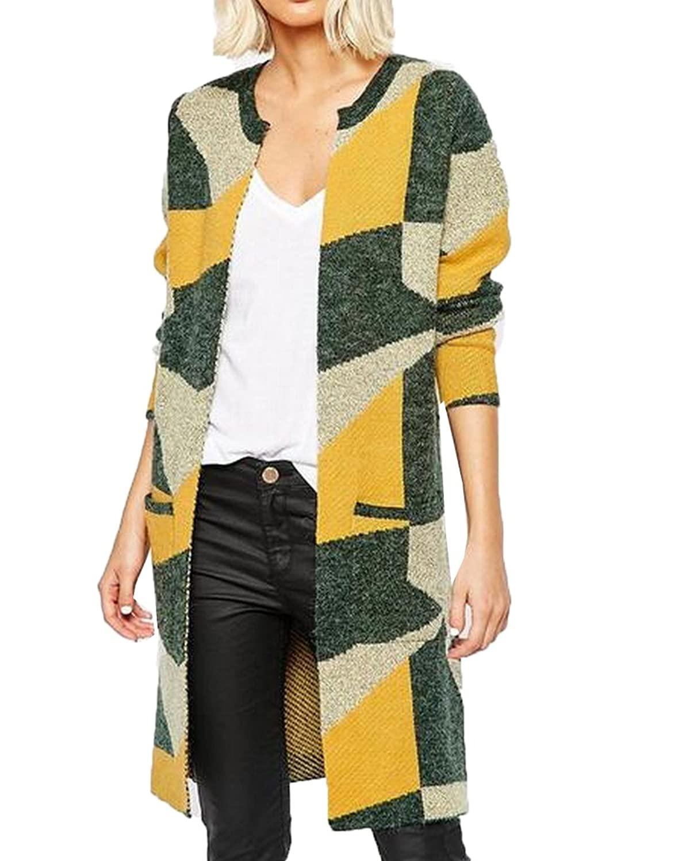 NQ Womens Casual Splice Chic Knitting Pockets Top Cardigan