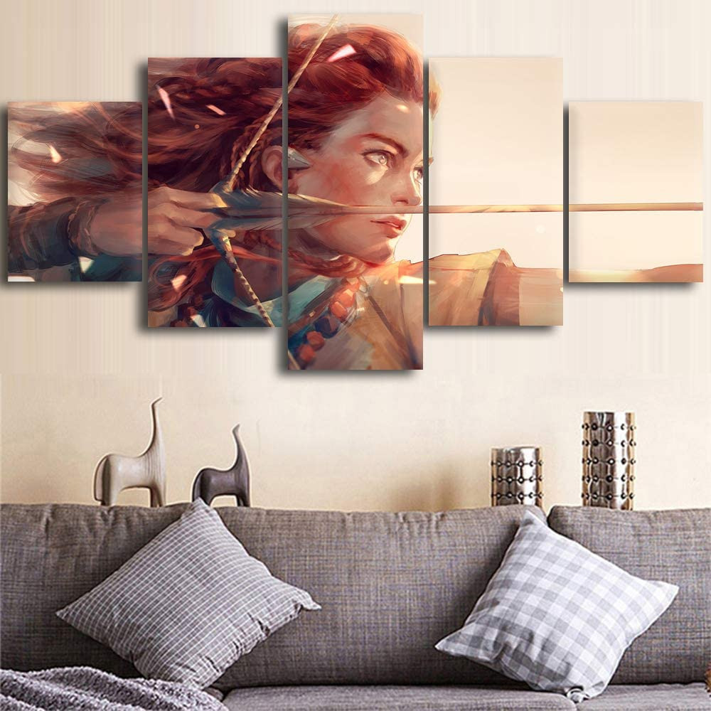 Home Decor Hd Prints Pictures 5 Pieces Horizon Zero Dawn Poster Wall Artwork Modular Game Painting Canvas for Living Room (8x12 8x16 8x20inches,Unframed)