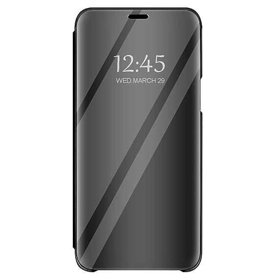 Hülle Kompatibel mit Galaxy J6 hülle S-View Flip 360 Grad Spiegel Phone J6 Cover Handy Shell Smart Case Tasche Smartphone Scr