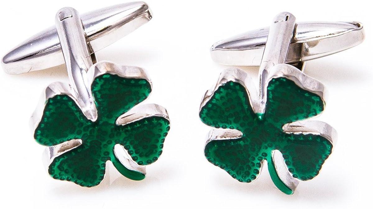 MRCUFF Clover Green Irish Ireland Shamrock 4 Leaf Pair Cufflinks in a Presentation Gift Box & Polishing Cloth