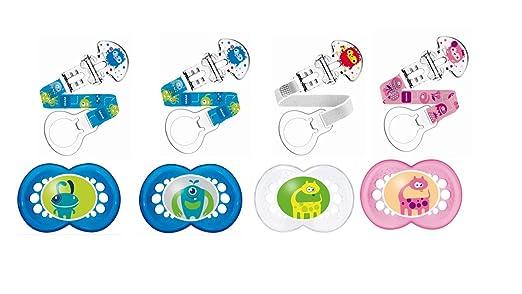 2 opinioni per Mam- Set di succhietto e clip, dai 6 mesi in su, in silicone, Colori assortiti