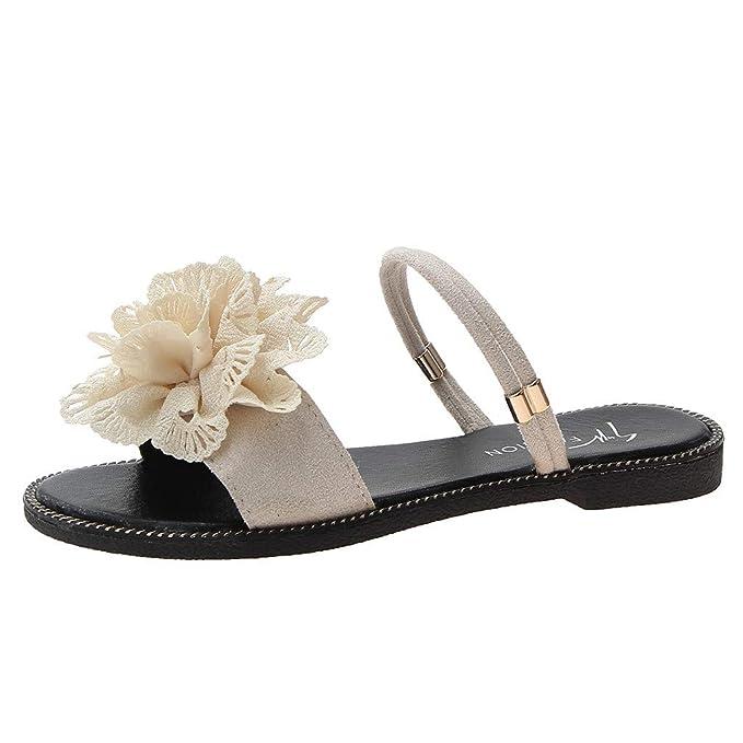 5869a945d1a7e Amazon.com: Women's Flower Flat Sandals, NDGDA Ladies Summer Beach ...