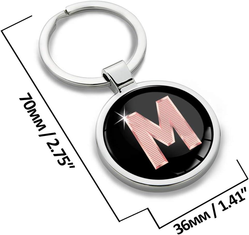 Porte-cl/é Lettres A-Z Initiales Personnalisable de lalphabet Accessoires Homme Femme Cadeau Lettre M Or Rose KK 39