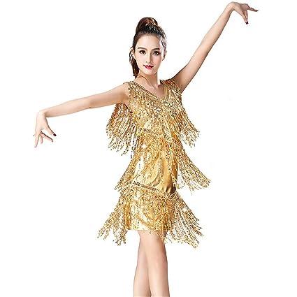 fd1041a34951 Women Dancewear Metallic Sequin Fringe Tassels Ballroom Samba Tango Latin  Dance Dress Competition Costumes Swing Rumba Dress (Color : Gold, ...