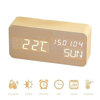 aimdonr Madera Despertador/Digital Relojes para dormitorio voz Set además/LED moderna hölzerne Cube