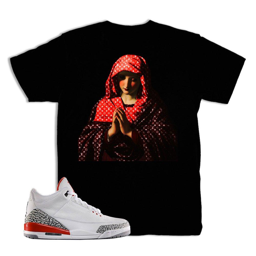 aa963cfd69c Kickset Katrina 3 Pray for Hype Shirt to Match Jordan 3 Katrina Fire Red  Sneakers | Amazon.com