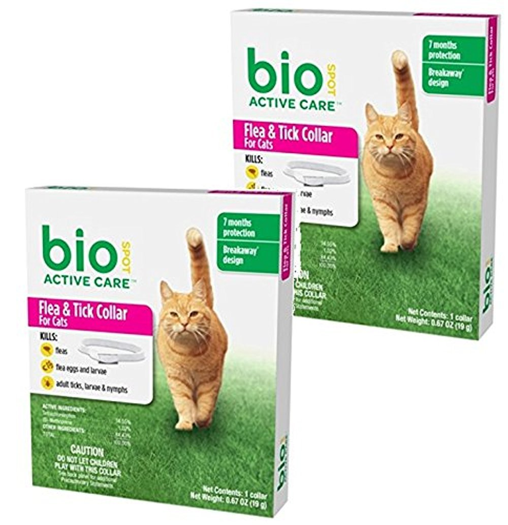 (2 Pack) BioSpot Active Care Flea and Tick Collar for Cats, 13-Inch Farnam Home & Garden