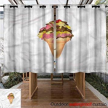 Sunnyhome Cortina de Puerta corredera con diseño de Helado en Palos para Patio o Porche Delantero: Amazon.es: Jardín