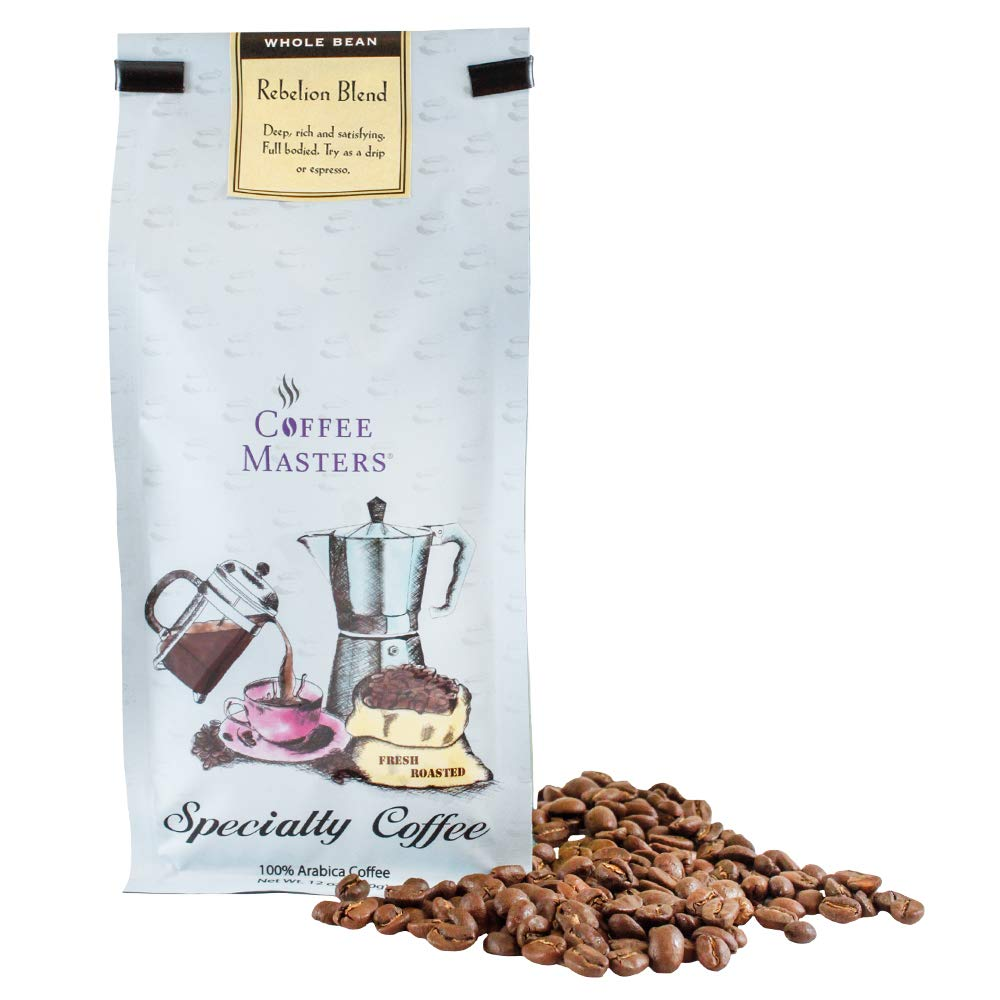 Coffee Masters Gourmet Coffee, Rebellion Blend, Whole Bean, 12-Ounce Bags (Pack of 4)