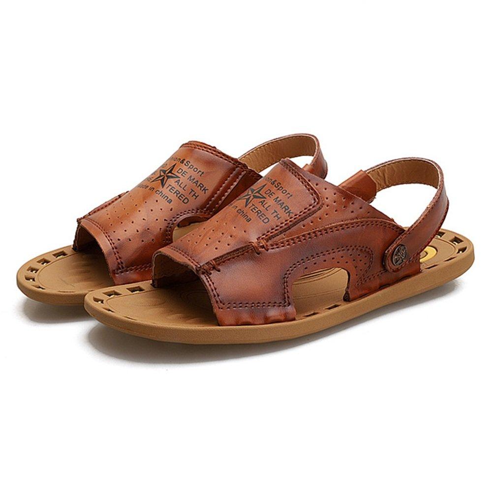 Sandale Männer Outdoor Leder Schwarz Anti-Rutsch-Schuhe Atmungsaktiv Coole Größe Hausschuhe (Farbe : Braun, Größe Coole : 40 EU) Braun a563a4