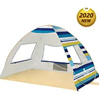 Large Pop Up Beach Tent Beach Umbrella Automatic Sun Shelter Cabana Easy Set Up Light Weight Beach Canopy 3-4 Person…