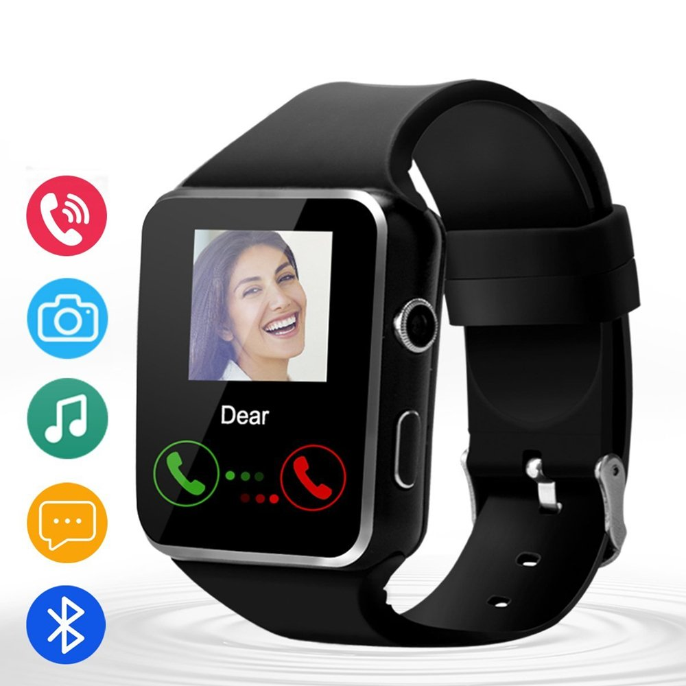 Smart Watch-Bluetooth Touchscreen Smart Wrist Watch with SIM/TF Card Slot,Camera Compatible with Android and iOS Phones for Men,Black