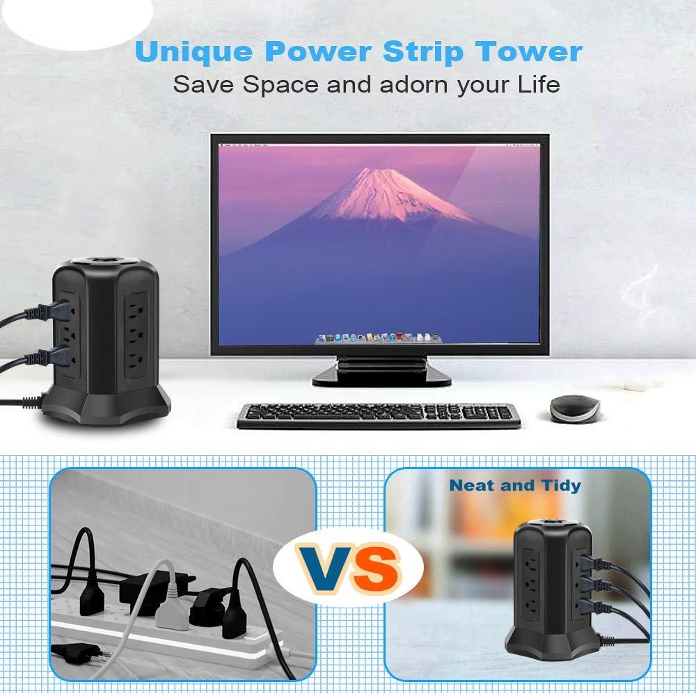 BEVA Power Strip Tower with 9 AC-Outlets and 4 USB Charging Ports Switch Control,Surge Protector Desktop Power Strip Charging Station 6 ft Extension Cable for Office and Home Black by heying (Image #6)