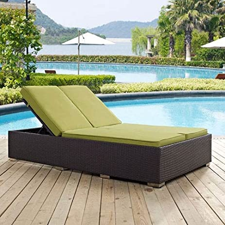 Modway Convene Patio Double Chaise Lounge In Espresso And Peridot