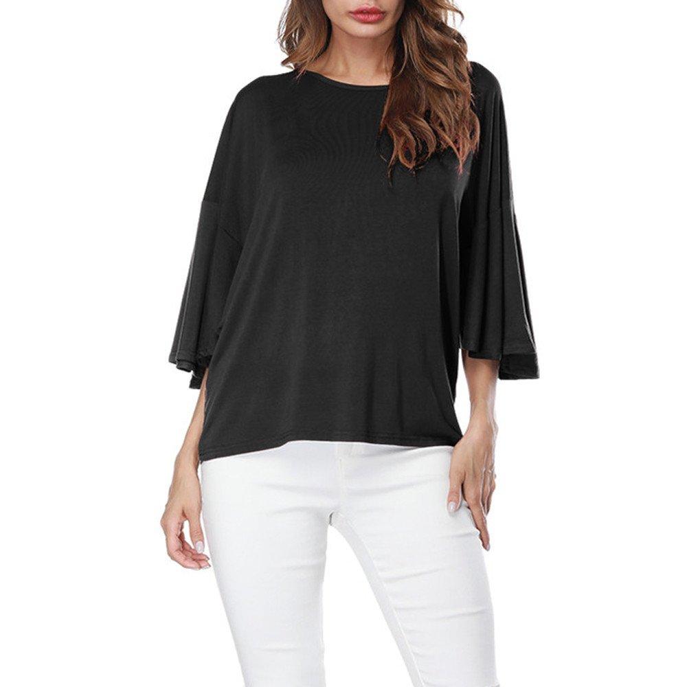 HHei_K Womens Girls Casual Solid Dropped Shoulder O-Neck Ruffles Half Sleeve Tops Summer Loose T-Shirt