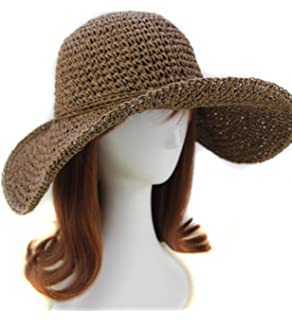 02f1d1d8bd8 Summer Wide Brim Straw Sun Hat Folding Floppy Derby Hat Wide Large Brim  Travel Beach Cap