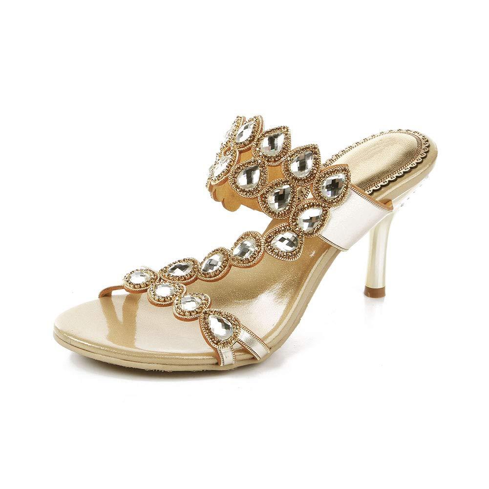 gold Women's Slim high Heel Slippers Non-Slip Shining Rhinestone High Heel Sandals Everyday Wear Slippers