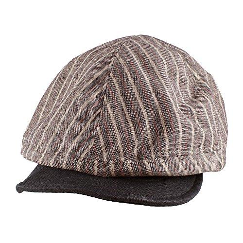 Morehats Two Tone Striped Packable Linen Newsboy Cap Gatsby Hat - Navy