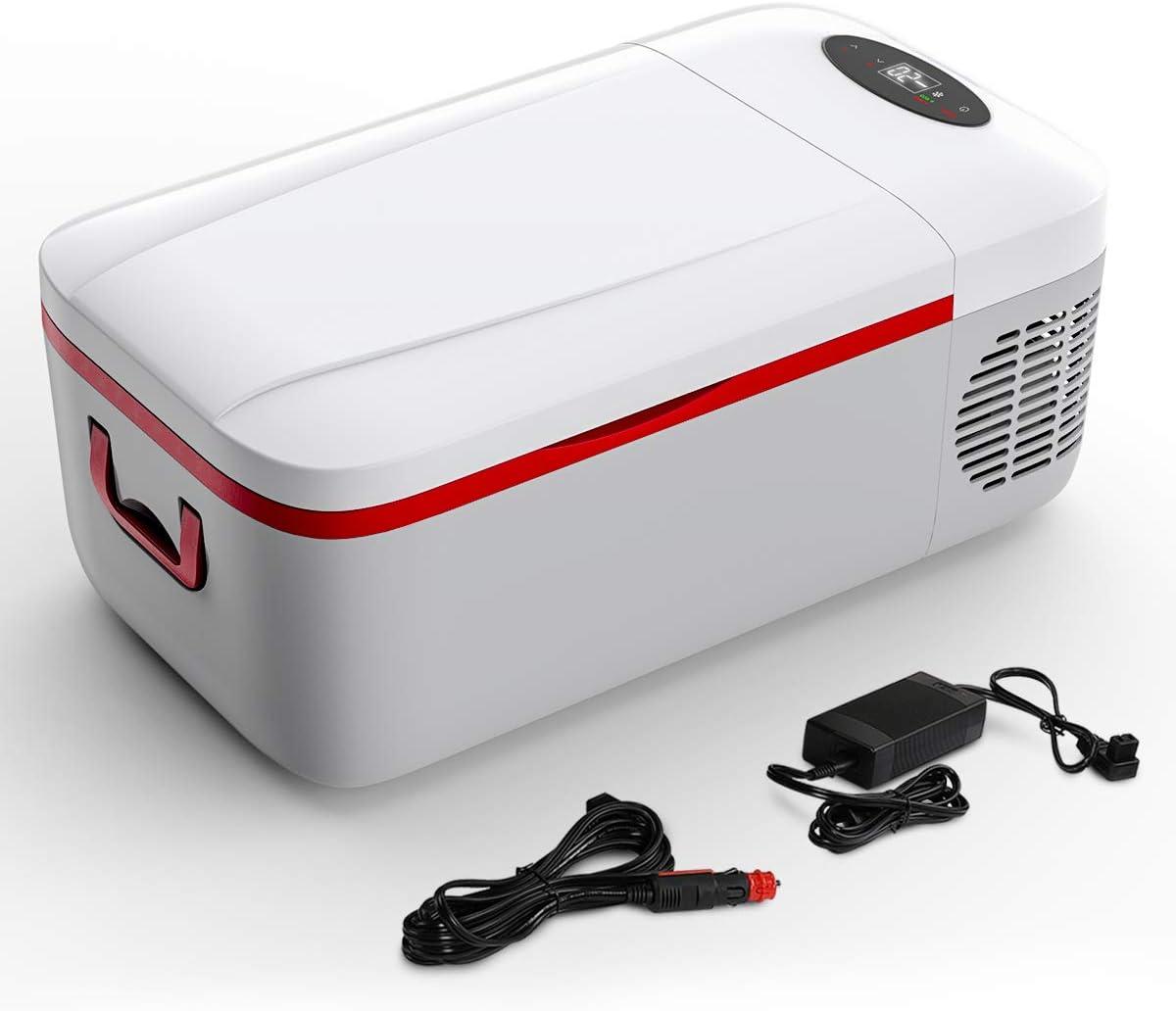 Portable Car Refrigerator, 13 Quarts / 12L Car Freezer Fridge Cooler with 12/24V DC & 110V AC, 12 Volt Electric Refrigerator for Car Home RV Camping Travel Room Boat Truckers Outdoors (-4℉ to 50℉)
