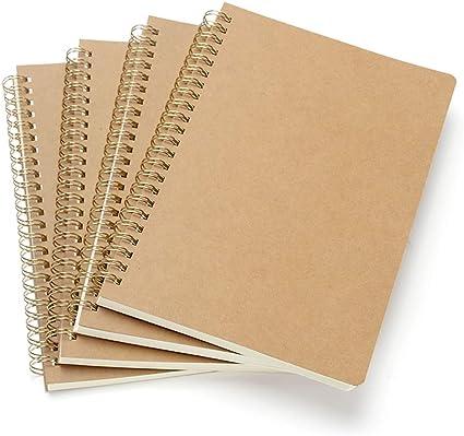 VEESUN Bloc de Notas Espiral A5, Pack de 4 Cuaderno de notas Tapa Blanda Cubierta de Kraft 160 Páginas Diario de Viaje Libreta Hojas Blancas Pequeña Diarios para Escolar Escribir Professor: Amazon.es: