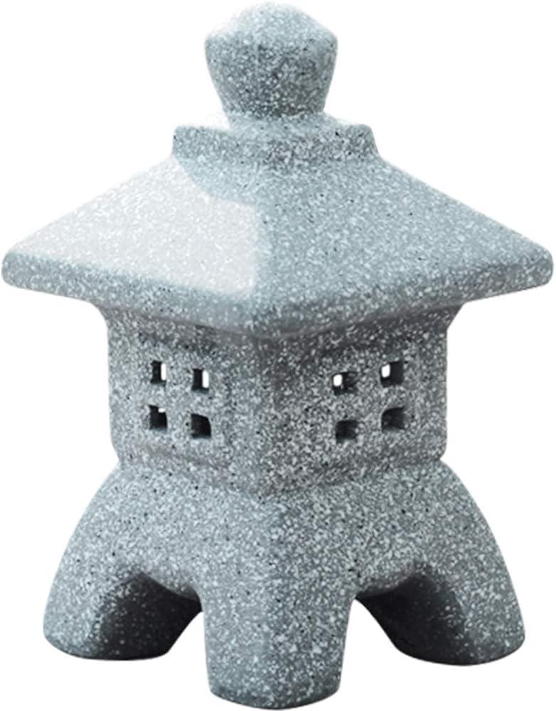 MOCOHANA Ceramic Miniature Pagoda Lantern for Garden Patio Bonsai Decoration Miniature Accessories & Furniture for Home Decor Outdoor Statue 7.5 inch Inseparable