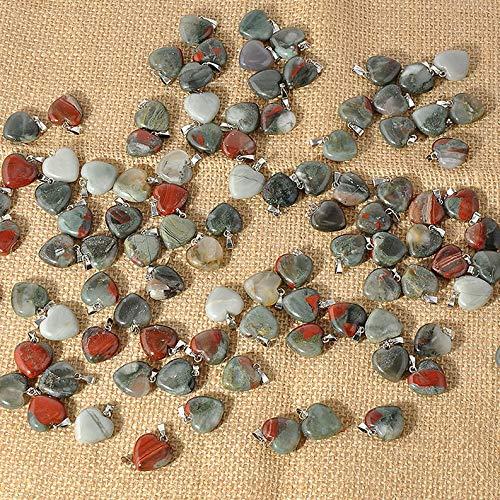 (Mikash Charm Natural Heart Shape Stone Bead Reiki Chakra Pendant for Necklace Wholesale | Model NCKLCS - 38926 | 3 pcs)