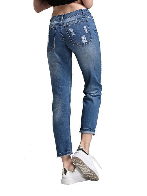 8ee327db Alice & Elmer Petite Women's Denim Loose Fit Straight Leg Ripped Holes  Boyfriend Jeans Glacier Blue 27: Amazon.co.uk: Clothing