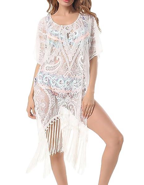HX fashion Bikini Cover Up Mujer Elegantes Sencillos Diario Vestidos Playa De Verano Encaje con Borla