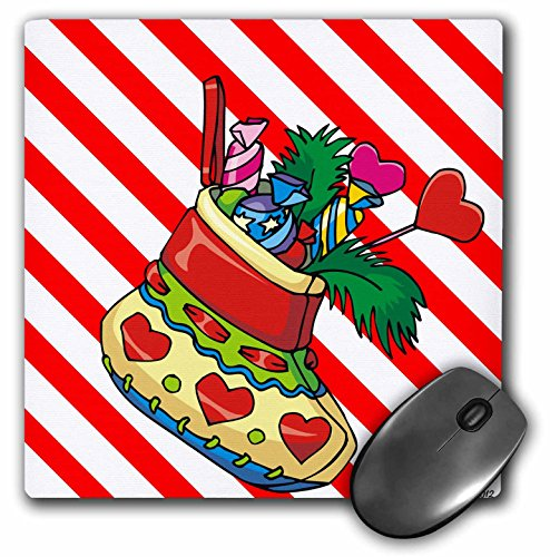 - 3dRose Edmond Hogge Jr Christmas - Christmas Stockings and Candy Cane Stripes - MousePad (mp_61173_1)