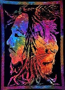 "ANJANIYA Bob Marley Lion Face Beautiful Bohemian Room Dorm Decor Hippie Small Boho Rasta Tapestry Poster 30""x40"" Psychedelic Reggae Tapestries Wall Art Hanging Gypsy Posters (Multi Color)"