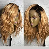 KRN Ombre 1B/27 Honey Blonde Lace Front Wigs Brazilian Human Hair Loose Curly Wave Full Lace Wigs For Black Women (14 Inch, 150% Density Lace Front Wig)