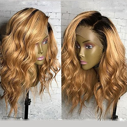 KRN Ombre 1B/27 Honey Blonde Lace Front Wigs Brazilian Human Hair Loose Curly Wave Full Lace Wigs For Black Women (14 Inch, 150% Density Lace Front Wig) by KRN