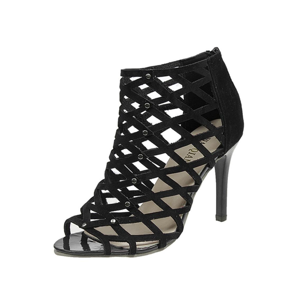 a66f8e5344c7ed Amazon.com  WuyiMC® Women shoes Women s Peep Toe High Heels Shoes Rivet  Roman Gladiator Sandals Summer Dress Shoes  Sports   Outdoors