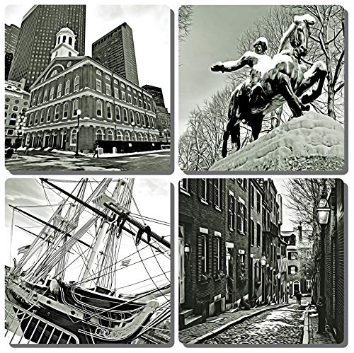 Boston Drink Coasters. Set of 4. Sepia toned. Faneuil Hall, Paul Revere Statue, Acorn Street, and the USS Constitution. Tumbled Porcelain, ()