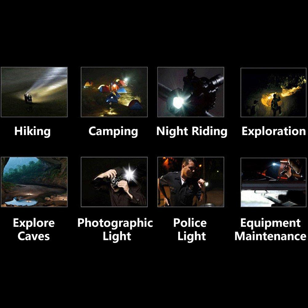 Linterna Zoomable Flashlight Impermeable// Rotativa 180 /° Ajuste Multifu USB Recargable Linterna Alta Potencia 3000 L/úmenes Elinker 3 LED Linterna Frontal Cabeza 6 Modos de Iluminaci/ón Haz de Luz
