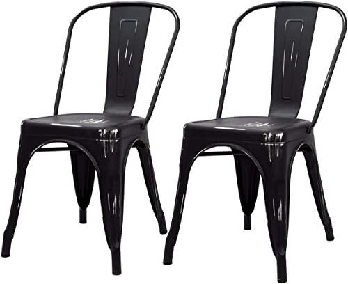 Barton Set of 2 Bistro Side Chair Cafe Vintage Style Indoor/Outdoor Side Chairs Bar Pub