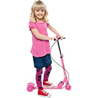 Zeyu Kids 3 Wheel Foldable Scooter with Height Adjustment & Led Light on Wheel Pink Color
