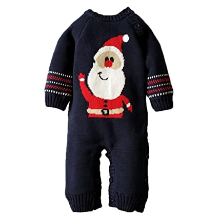 64205f6b8136 Amazon.com   Elogoog Baby Toddler Sweater Romper Jumpsuit Christmas ...