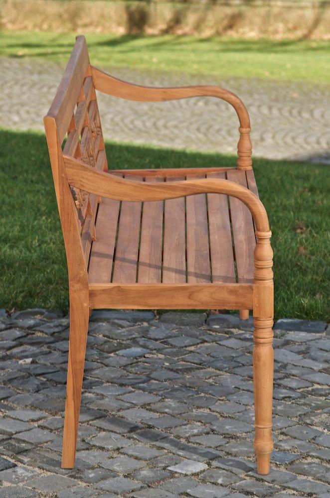 120x54 cm CLP Banc de Jardin en Bois de Teck Maryland I Banquette de Jardin avec Dossier R/ésistante aux Intemp/éries I Chaise de Jardin 3 Places I Tailles
